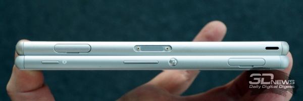Отличия проще всего искать на боковых сторонах. Xperia Z3 снизу, Xperia M4 Aqua сверху