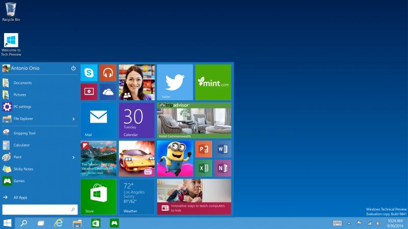 Start меню Windows 10