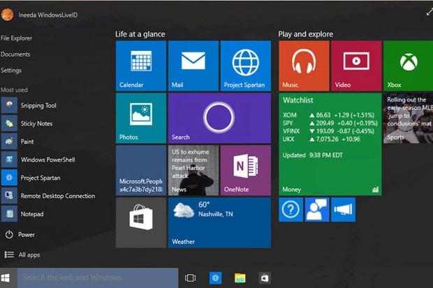 Стартовый экран Windows 10 (сборка 10056)