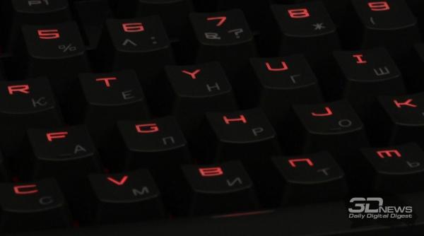 Подсветка&quot; height=&quot;334&quot; width=&quot;600&quot;/&gt;</a></p> </div> <p>Весь блок с клавиатурой и сенсорной панелью имеет регулируемую подсветку красного цвета. Регулировка осуществляется аппаратно, курсорными клавишами с предварительно нажатой функциональной клавишей [Fn]. Подсветка имеет три уровня яркости, а также может быть отключена полностью.</p> <h2 class=