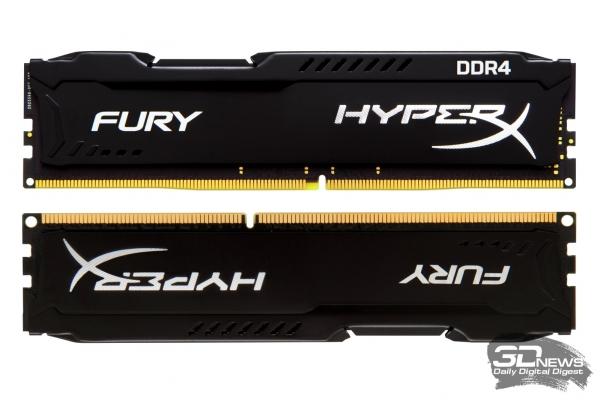 Сверху – модуль DDR4 SDRAM; снизу – модуль DDR3 SDRAM