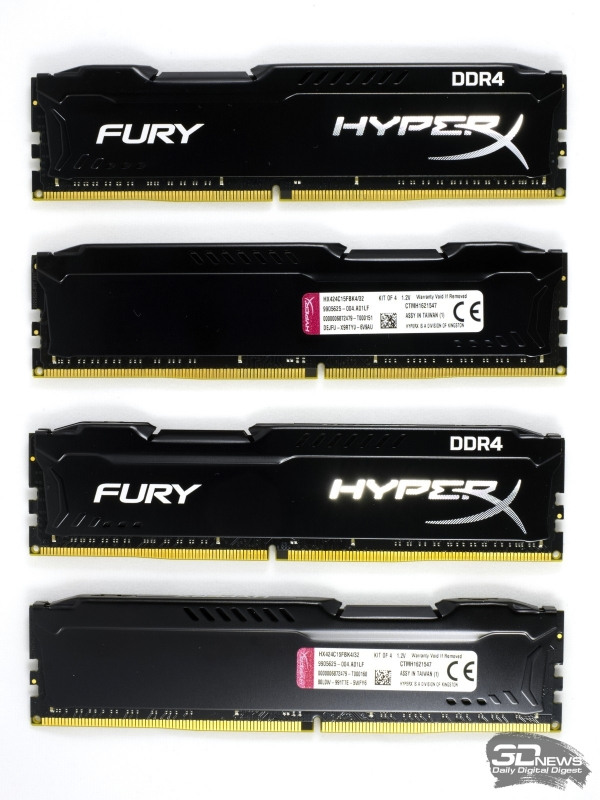 Комплект Kingston HyperX Fury DDR4-2400 объёмом 32 Гбайт (HX424C15FBK4/32)