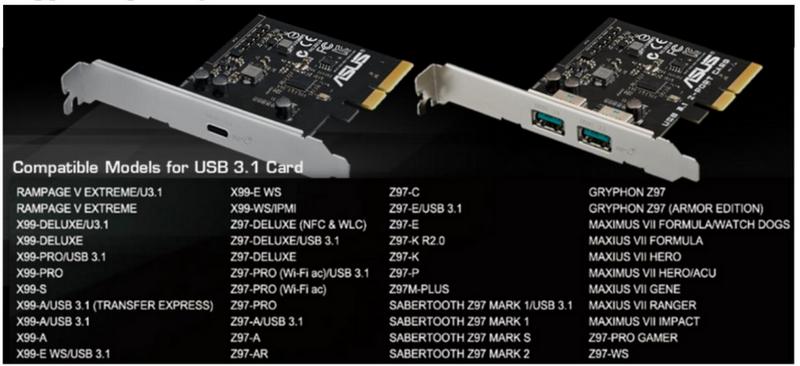 Вариант ASUS совместим не со всеми платами и требует разъёма PCIe x4