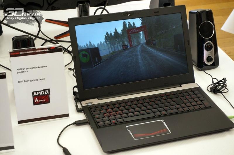 Референсный ноутбук AMD с запущенной игрой DiRT 4, использующей DirectX 12