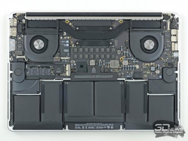 Внутренности Apple MacBook Pro with Retina display 15