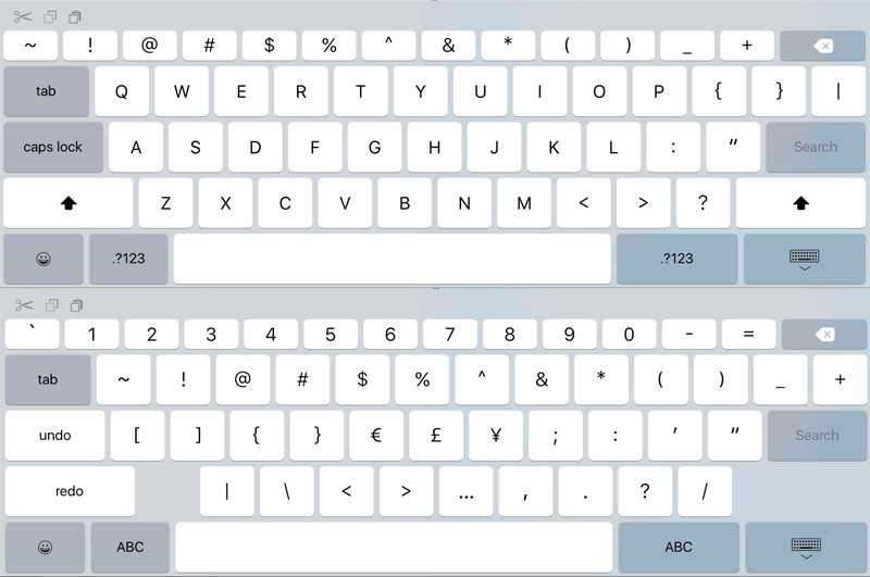Виртуальная клавиатура предположительно iPad Pro