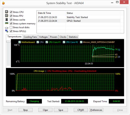 Стресс-тестирование в AIDA64