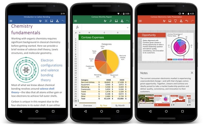 Word, Excel and PowerPoint for Android-smartphone