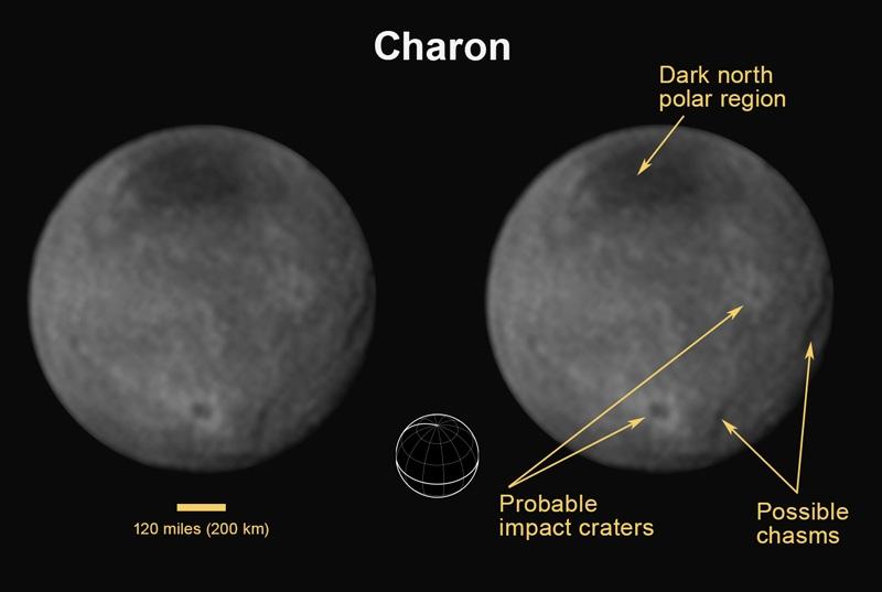 Фото дня: кратеры, расщелины и тёмные пятна на Хароне