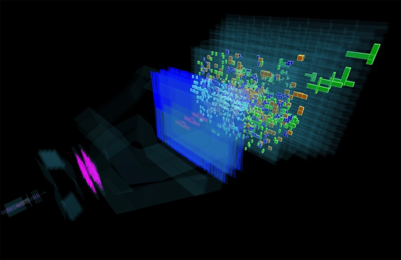 Визуализация примера данных события, зарегистрированного детектором эксперимента LHCb
