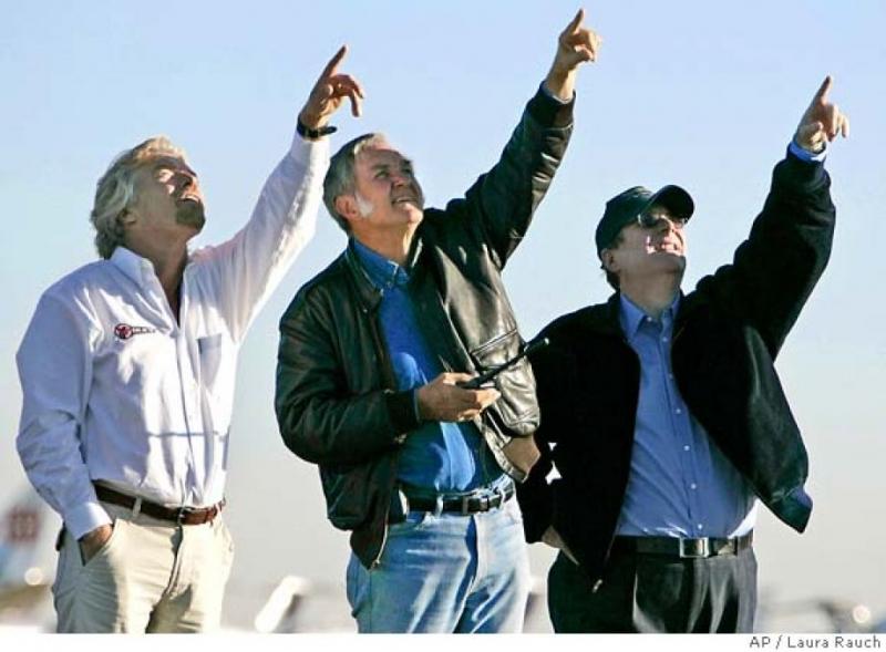 Ричард Брэнсон, Бёрт Рутан и Пол Аллен встречают SpaceShipOne
