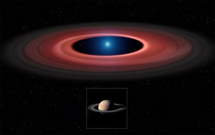 Сравнение диска вокруг SDSS1228+1040 и системы колец Сатурна