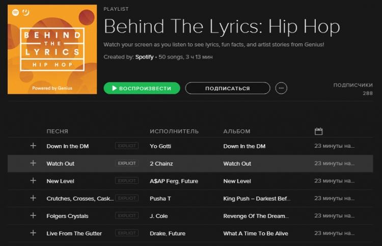 Spotify и Genius запустили плейлисты с полезной информацией о песнях