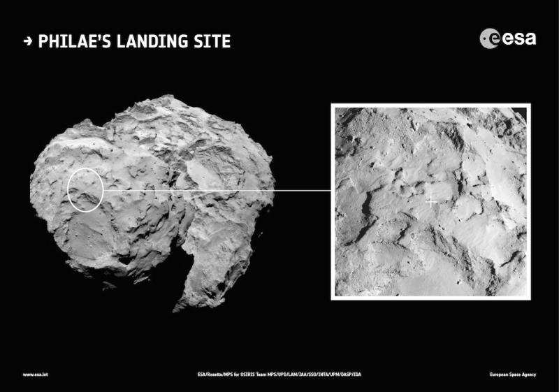 Зона J «Агилкия» -- расчётный район посадки Philae