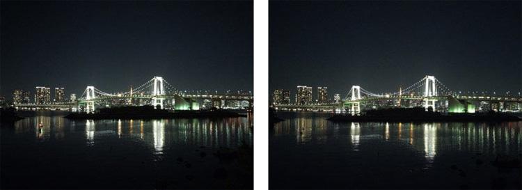 Сравнение снимков в тёмное время суток с помощью IMX230 (слева) и IMX318 (справа)