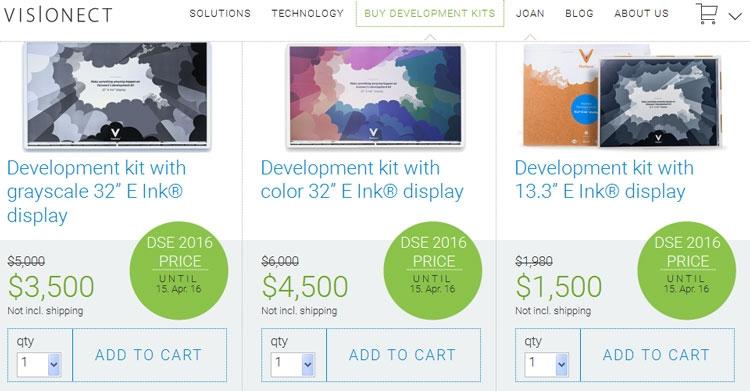 """Visionect подготовила наборы для разработки 32-дюймовых табло на E Ink"""""""