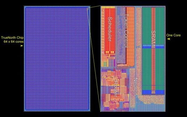 Структура кристалла процессора IBM TrueNorth (IBM)