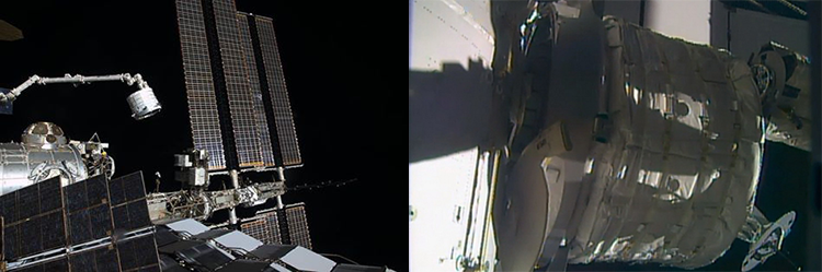 BEAM на «космической руке» (слева) и на своём рабочем месте