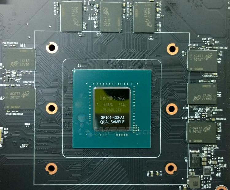 Графический процессор GP104 и память GDDR5X крупным планом