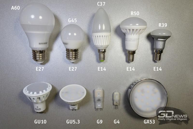 Типы и цоколи светодиодных ламп