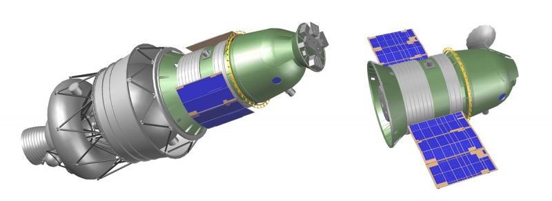 Корабль для облёта Луны 7К-Л1 «Зонд» на разгонном блоке и в полётной конфигурации. Графика А. Шлядинского