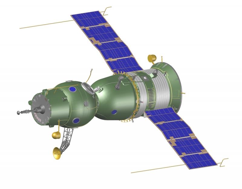 Космический корабль «Союз» 7К-ОК с активным стыковочным узлом. Графика А. Шлядинского