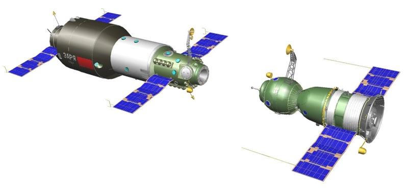 Корабль «Союз-11» стыкуется со станцией «Салют-1». Графика А. Шлядинского