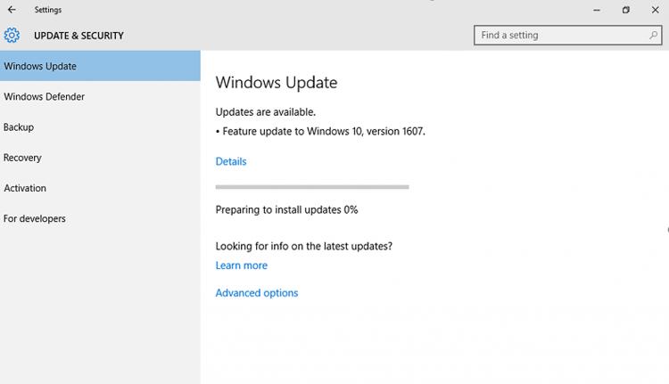 «Юбилейное обновление» Windows 10