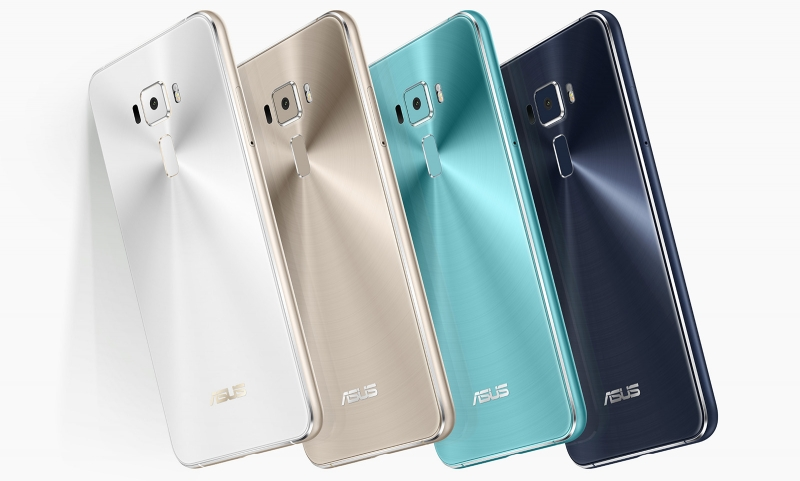 Доступные цвета ASUS Zenfone 3: белый, золотой, бирюзовый и синий