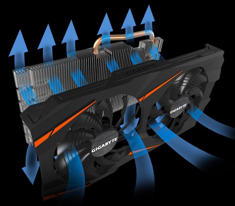 Кулер WindForce 2X (на видеокарте Gigabyte GeForce GTX 1060 WindForce 3G/6G)