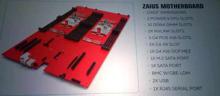 Примерная компоновка системной платы Zaius P9