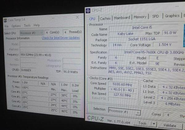 Intel Core i5-7600K (CPU-Z, разгон)