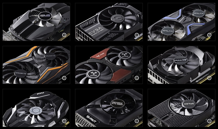 Ассортимент GeForce GTX 1050 Ti