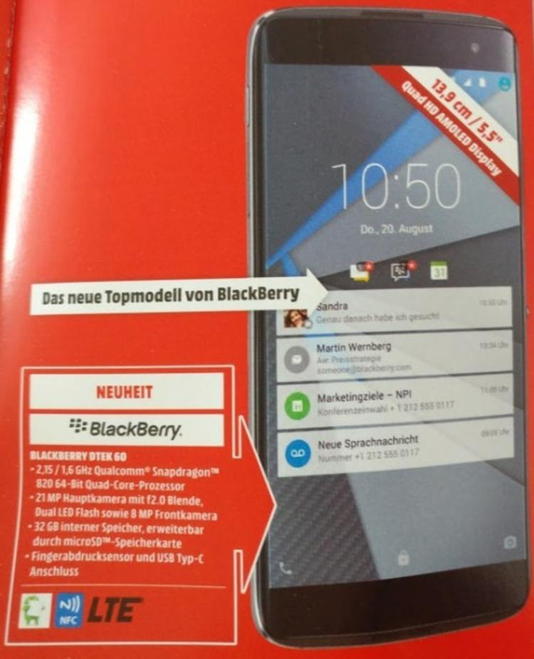 Смартфон BlackBerry DTEK60 будет доступен 25 октября