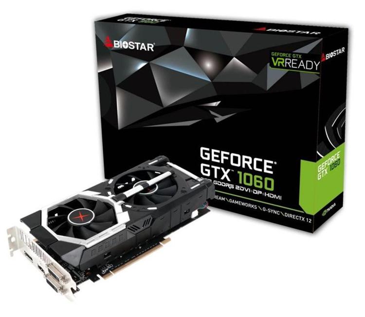 Biostar оснастила видеокарты GeForce GTX 1060 кулером с двумя вентиляторами