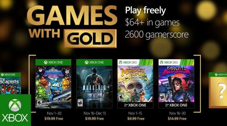 Microsoft представила ноябрьский список бесплатных игр Xbox Live Gold
