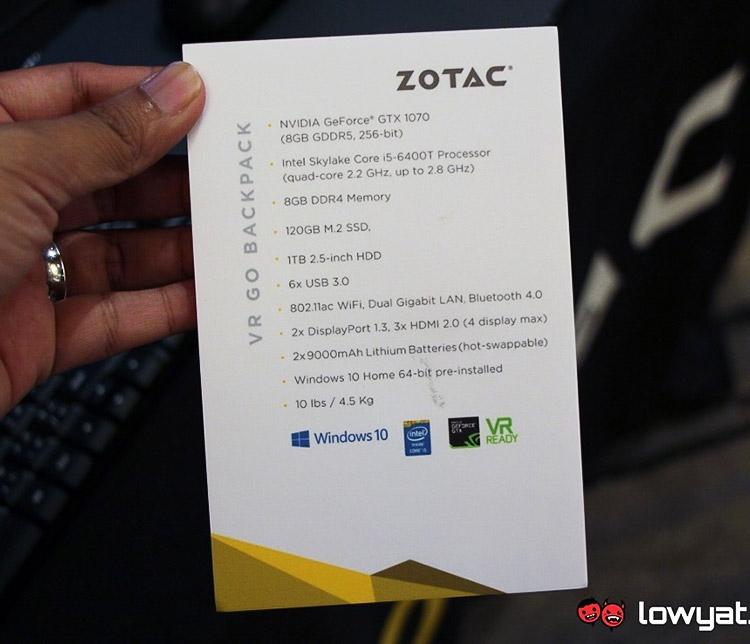 Компьютер-рюкзак ZOTAC VR Go Backpack