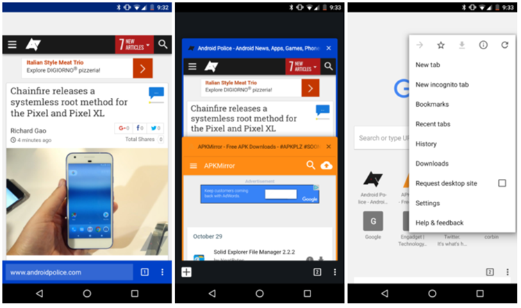 Chrome для Android адаптируют для одноручного использования
