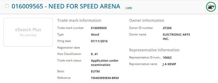 EA зарегистрировала торговую марку Need for Speed Arena