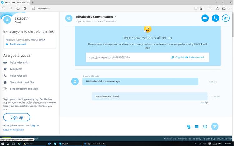 Skype for Web теперь можно использовать без аккаунта
