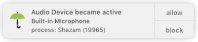Приложение Shazam для macOS заставляет микрофон постоянно работать