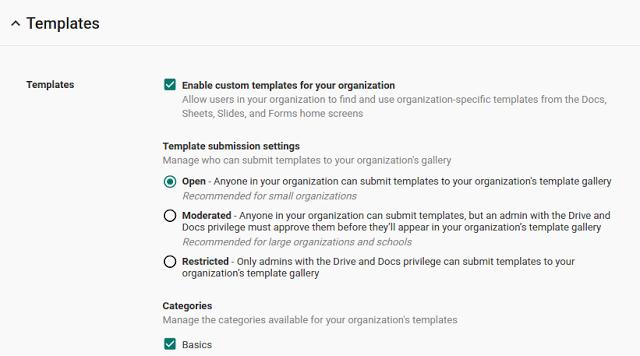 В офисном пакете Google теперь можно создавать пользовательские шаблоны
