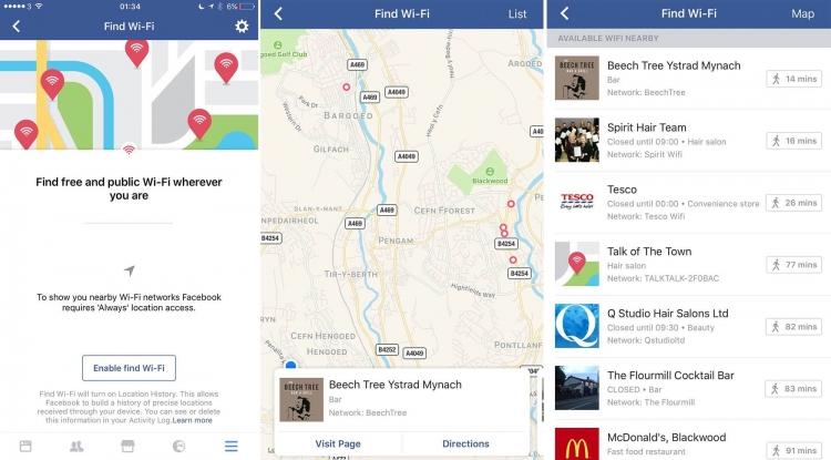 Facebook тестирует функцию поиска бесплатного Wi-Fi через мобильное приложение