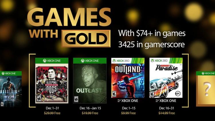 Объявлены бесплатные игры декабря в Xbox Live Gold