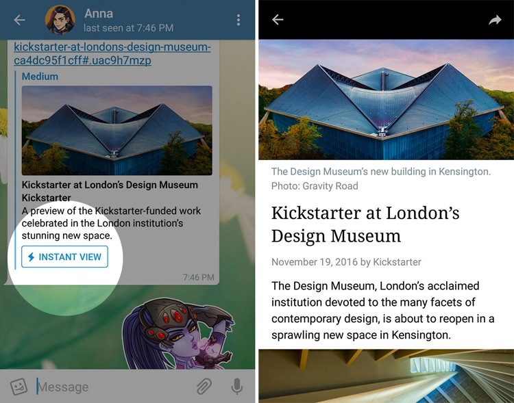 Telegram внедрил сервис Telegraph для создания постов и функцию просмотра Instant View
