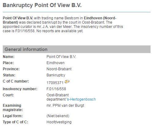 Нидерландские источники сообщают о банкротстве Point of View