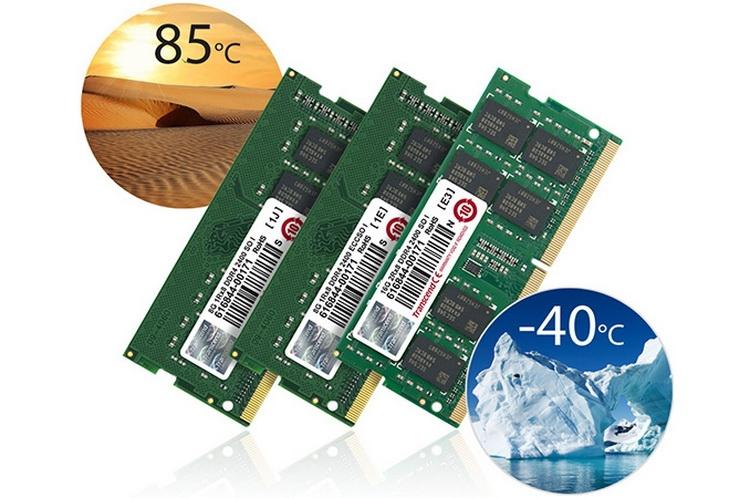 Transcend представила модули DDR4 SO-DIMM для работы в экстремальных условиях
