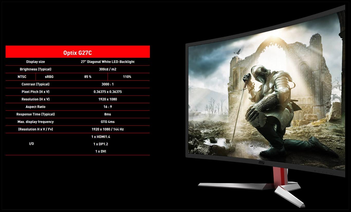 MSI показала свой первый игровой монитор — Optix G27C