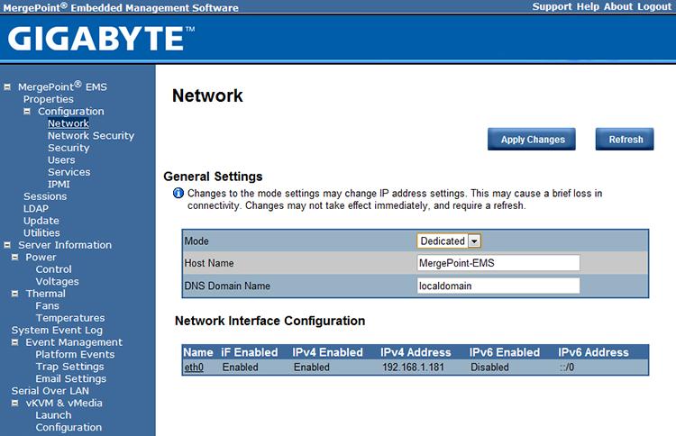 Лезвийный сервер Gigabyte H230-R4C - веб-интерфейс