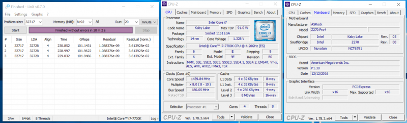 Разгон процессора по шине при помощи ASRock Z270 Pro4